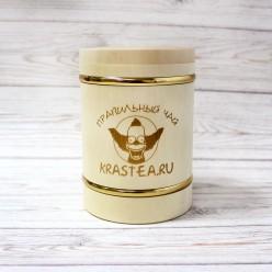 Деревянная баночка для чая с фирменным логотипом (с металлическими кольцами)